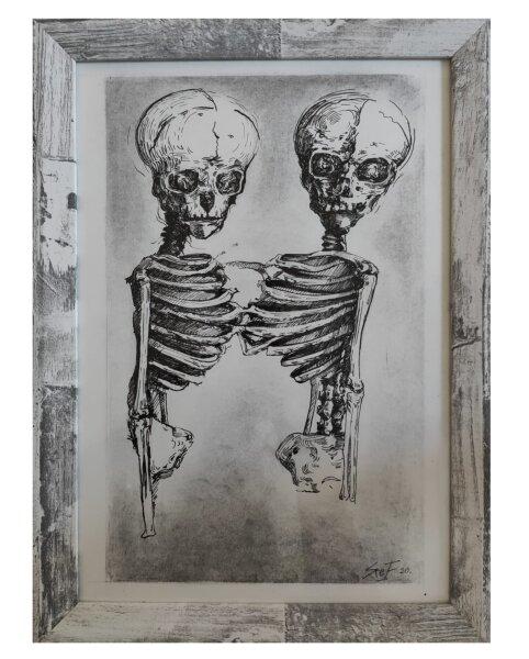 """Kohlezeichnung """"Skeleton Love"""" DIN A4 UNIKAT"""